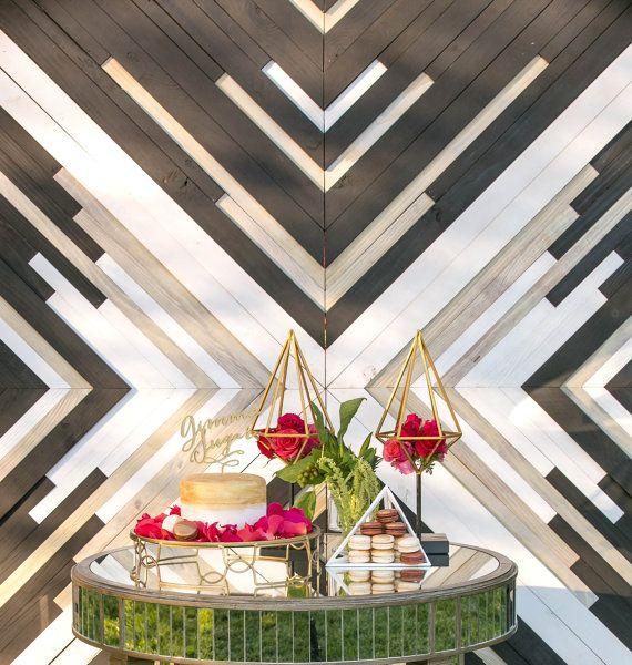 Custom Wood Panelled Wedding Backdrop by IfYouGiveAGirlASaw