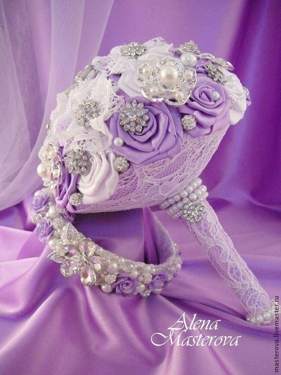 """Купить Свадебный букет из брошей, коллекция """" Мечта о принце"""" - сиреневый, букет из брошей"""