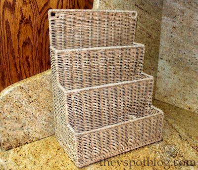 Cesta organizadora de escritorio - basket weave desk organizar  http://www.thevspotblog.com/2012/07/make-ombre-basket-using-tie-dye.html