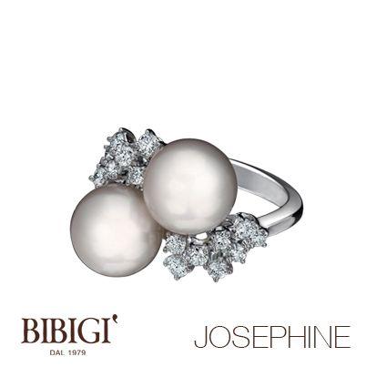#Bibigì | Collezione Josephie | Anello in oro bianco, diamanti e perle.
