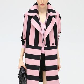 Black & Pink Stripes Coat