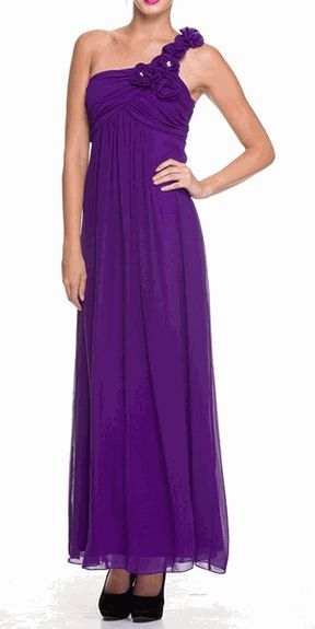 Purple One Shoulder Chiffon Discount Formal Dress - Discountdressup.com #Oneshouldergown #PurpleGown #bridesmaidsdresses