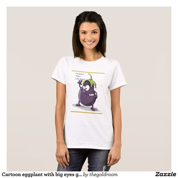 Cartoon eggplant with big eyes green hair T-Shirt - Fashionable Women's Shirts By Creative Talented Graphic Designers - #shirts #tshirts #fashion #apparel #clothes #clothing #design #designer #fashiondesigner #style #trends #bargain #sale #shopping - Comfy casual and loose fitting long-sleeve heavyweight shirt is stylish and warm addition to anyone's wardrobe - This design is made from 6.0 oz pre-shrunk 100% cotton it wears well on anyone - The garment is double-needle stitched at the bottom…