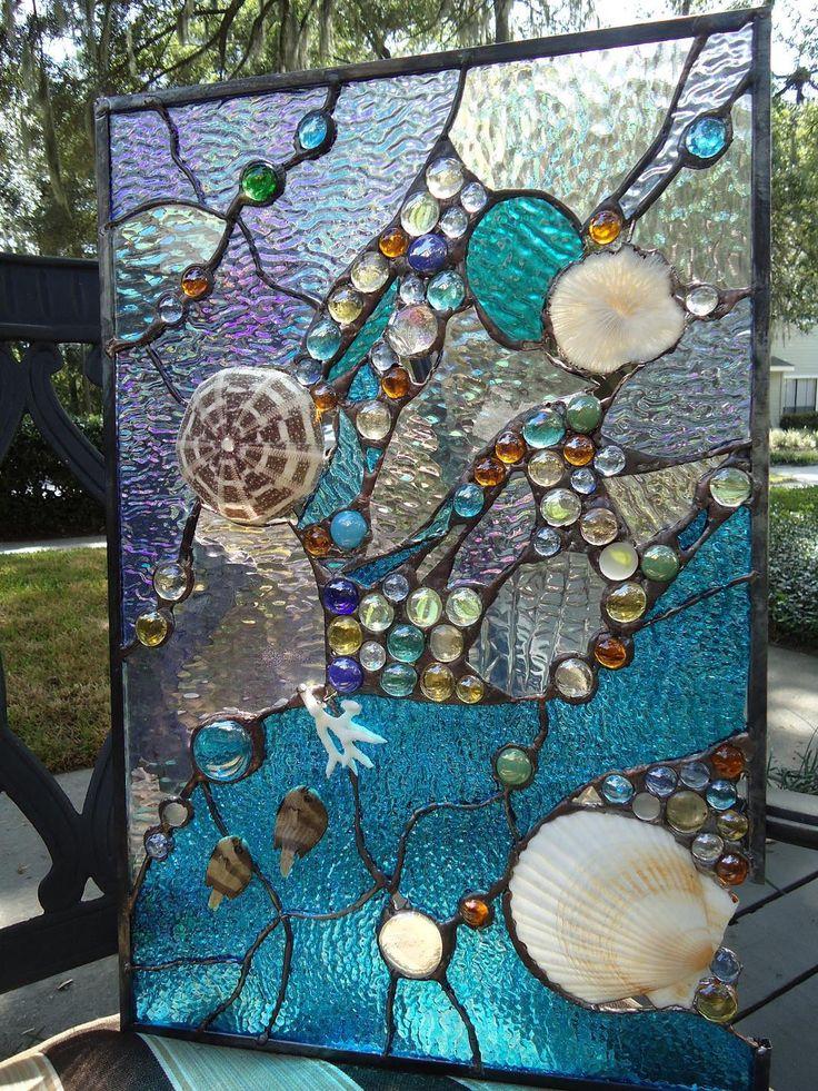 Stained Glass Window Tropical Fish Sea Shell Sailboat Suncatcher Ocean Panel | eBay