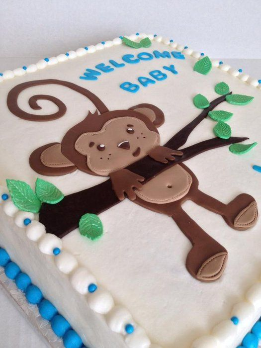 Monkey baby shower cake http://www.modernbabyshowers.blogspot.com