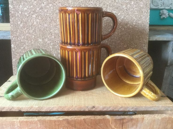 Vintage 1970s Japan Cups, Set 4 Mugs, Stackable Mugs, JAPAN Ceramic Cups, Coffee/Tea Cup, Earth Shades by TrashMaMa on Etsy