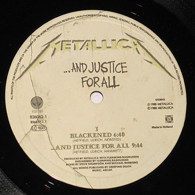 Detalle del disco de Metallica ...And Justice for All