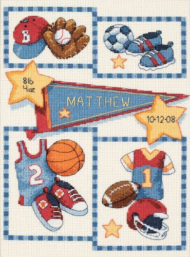 Dimensions Needlecrafts Counted Cross Stitch, Little Sports Birth Record Dimensions Needlecrafts http://www.amazon.com/dp/B001681WOS/ref=cm_sw_r_pi_dp_NSnUvb0CRZBP6