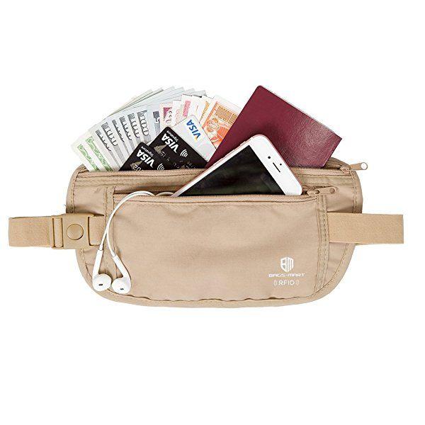 (バッグスマート)BAGSMART 貴重品入れ シークレット ウエストポーチ 旅行用品 トラベルポーチ セキュリティケース 海外旅行便利グッズ 防犯グッズ 盗難対策 薄い