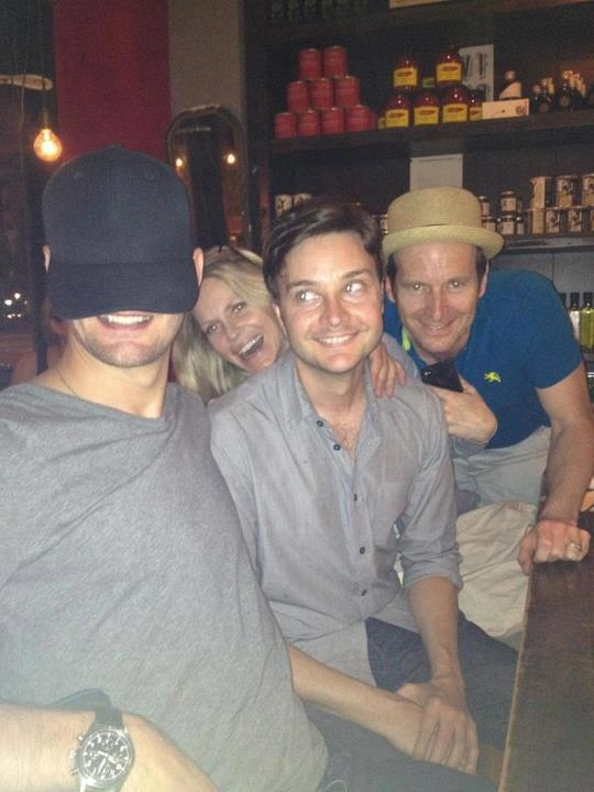 Alexander Skarsgard, Michael McMillan, Kristen Bauer van Straten, and Denis O'Hare, of True Blood, goofing off