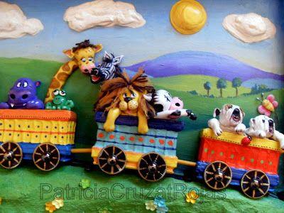 Patricia Cruzat Artesania y Color: Tren con Animales, 85x45cm