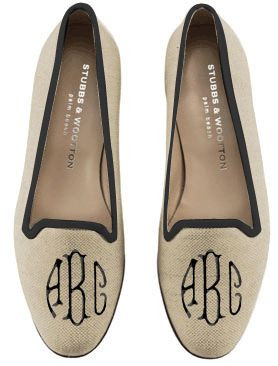Monogrammed Stubbs & Wootton smoking slippers.  I love these shoes. Very comfortable and old timey Country Club-looking.