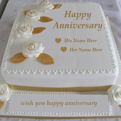 Write Name Happy Anniversary Cake Images Wedding Wishes With Edit Greeting Cards Online