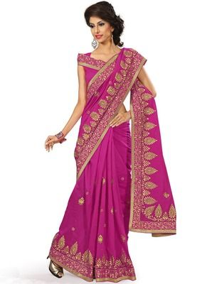 Vasu Saree Dark Pink Chanderi Embroidery Saree - Buy Online in India for prices starting at Rs. 3932 on Shimply.com. ✔ Fast Shipping ✔ 7 Days Return ✔ Genuine Products