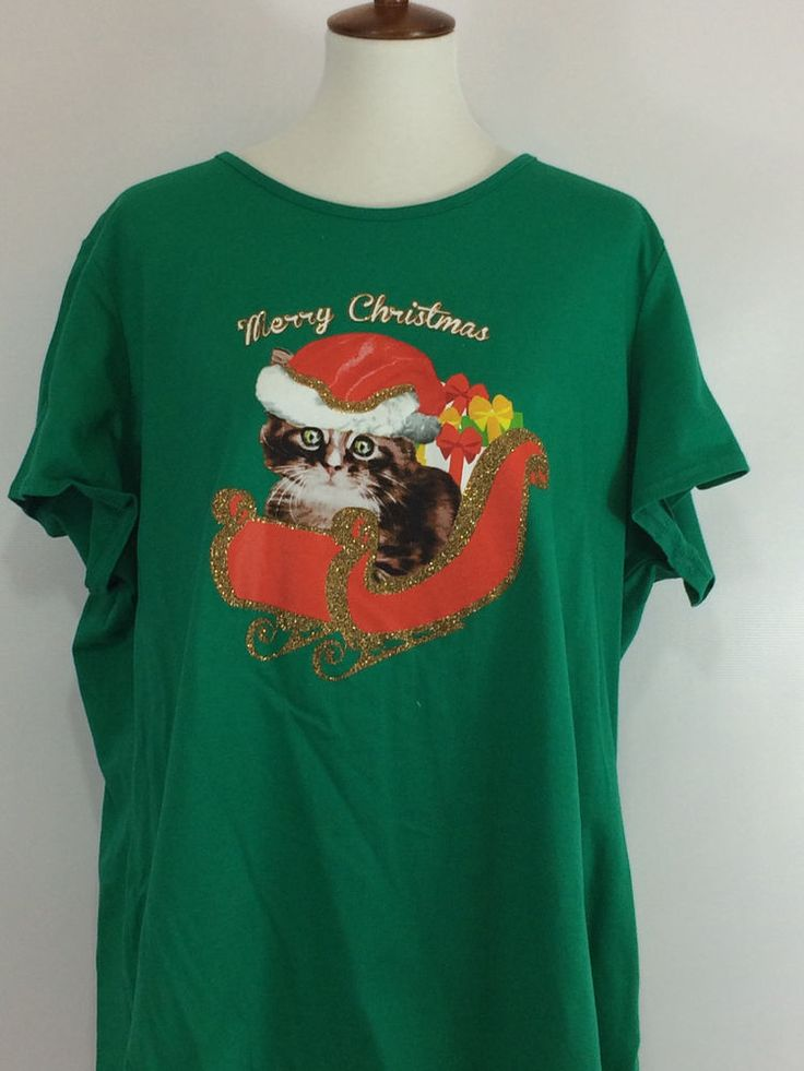 Woman' Christmas T-Shirt Merry Christmas Kitten Green Tee Size 3X  #Unbranded #GraphicTee