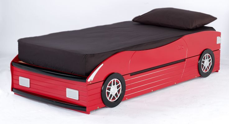 Lewis Racer An enhanced version of the ever popular grand prix childrens bed.  Available in a striking red finish, this modified version incorporates a pull-out single bed, purpose designed to accommodate a standard single mattress, making it the perfect  solution for scheduled, or unexpected overnight pit stops!!  Overall dimensions when the bed is assembled: L1970mm x W939mm x H475mm  NB - the space between the base and top side rail is 250mm