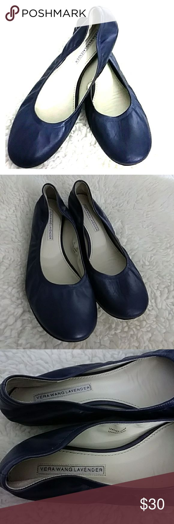 Vera Wang blue leather ballet flats Super soft leather ballet flats in good condition, soles show light wear not bad at all Vera Wang Lavender Shoes Flats & Loafers