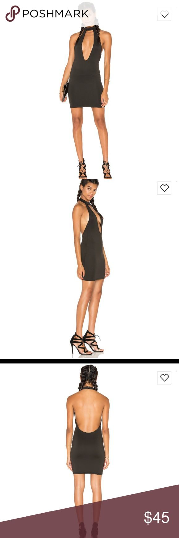 Motel Rocks x Revolve Possess Dress Black HOT Fire! 🔥 Bodycon dress with high neck and deep V and backless! Very stretchy and super sexy. Perfect date night dress, or Vegas Weekend dress! REVOLVE Dresses Mini