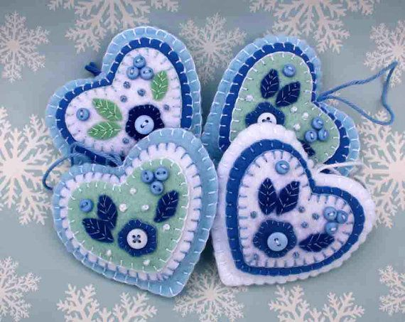 Felt Heart ornament. Blue and white heart by PuffinPatchwork