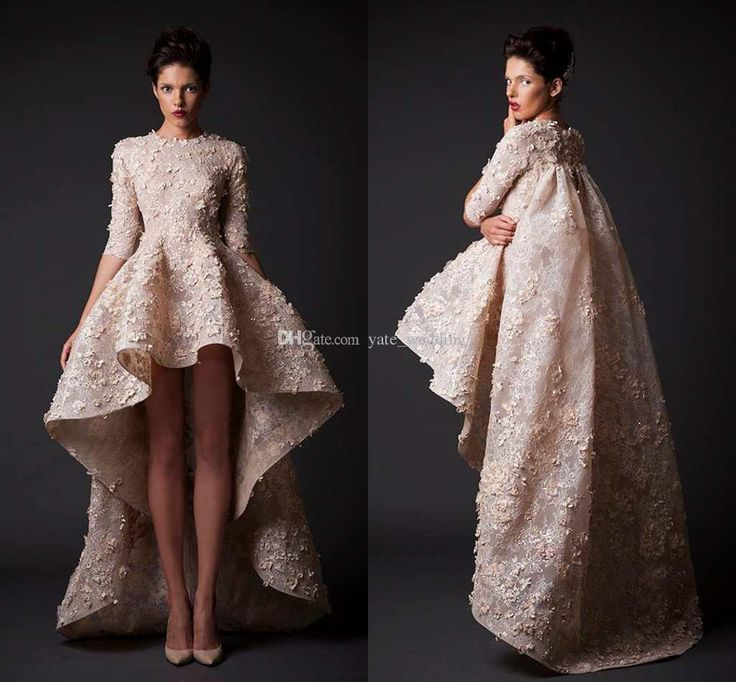 2015 Fashion Prom Dress With Crew Neck Half Sleeves Ruched Appliques Lace Plus Size Krikor Jabotian Champagne Evening Dress Hi Lo Prom Gown Prom Dress Shop Prom Dresses For Kids From Yate_wedding, $132.37| Dhgate.Com