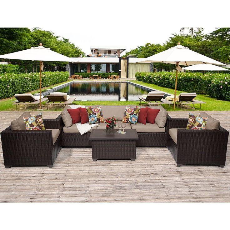 TK Classics Belle 6 Piece Outdoor Wicker Patio Furniture Set 06b (Size), Tan