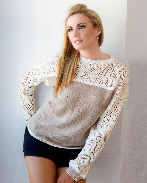Riktigt snygg tröja med mönsterstickad spets. http://www.knittingroom.se/butik/default.asp?pf_id=SE-112373