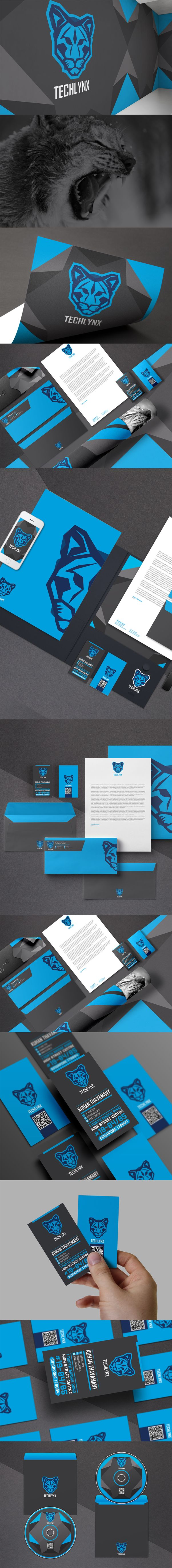 Techlynx branding and identity design. Techlynx is a software company which provide design and development of high-end quality technology products for the industry. Logo design consists of a techy visual of a bobcat (Lynx).  #identity #branding #style #logo #logotype #blue #graphicdesign #creative #businesscard #lynx