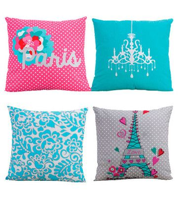 New Paris Chandelier Eiffel Tower Aqua Pink Decorative Bed Cushion Toss Pillow
