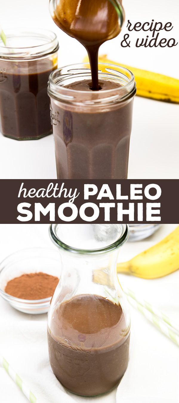 A healthy Paleo smoothie made with just 4 ingredients, including almond or coconut milk, dates, bananas, and cocoa powder. No added sugar!