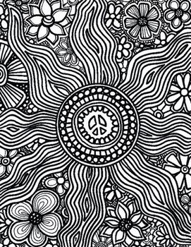 this adult coloring page is saved as a pdf the file contains a single page - Psychedelic Hippie Coloring Pages