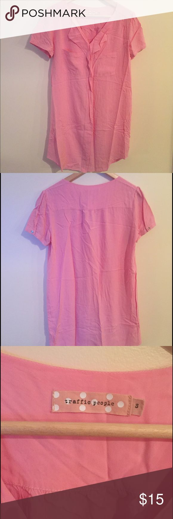 Pink ruffle front ASOS shirt dress Good used condition, pink shirt dress from ASOS. Brand is Traffic People. ASOS Dresses Mini