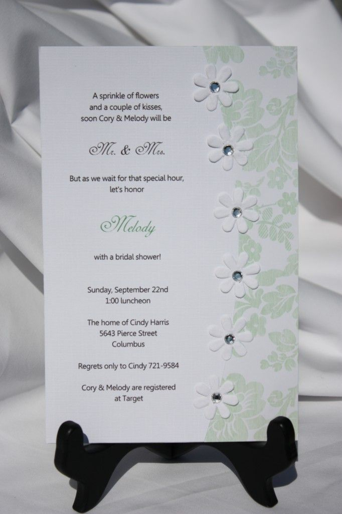 sample of wedding invitations templates%0A homemade invitations  bridal shower  cute wording and simple style   Check out navarragardens