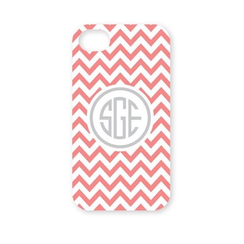 Monogrammed Chevron Fashion iPhone 5 Case - Salmon And White | Three Hip Chicks