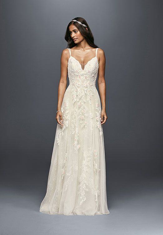 We can totally picture this soft & sexy bridal gown by Melissa Sweet (style MS251177) on a destination wedding bride - #weddingdress #bridalgown #destinationwedding