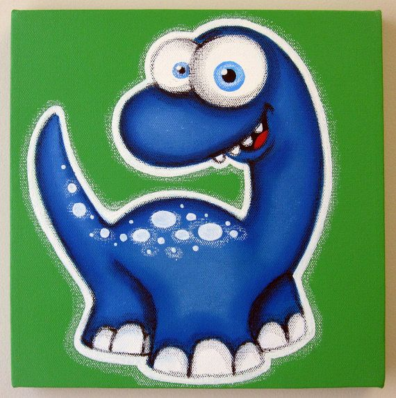 BLuE T-ReX dINOSAUR- 12x12 original acrylic painting on canvas, dinosaur art, dinosaur room decor for nursery or kids room,