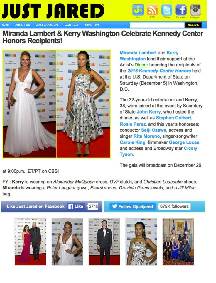 Press review about last night in #Washington Lovely country singer #MirandaLambert in White Etereal #PeterLangner gown. Thank you #JustJared for the Amazing article