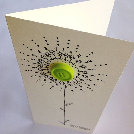 Button flower card. A beautiful handmade birthday card. Blank inside for your own message. on Etsy, £2.25