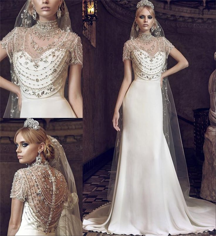 Luxury 2016 Jorge Manuel Mermaid Wedding Dresses Crystal Beaded High Collar Short Sleeves Plus Size White Ivory Beach Wedding Bridal Gowns 2016 Wedding Dresses Plus Size Wedding Dresses Arabic Wedding Dresses Online with $322.92/Piece on In_marry's Store | DHgate.com