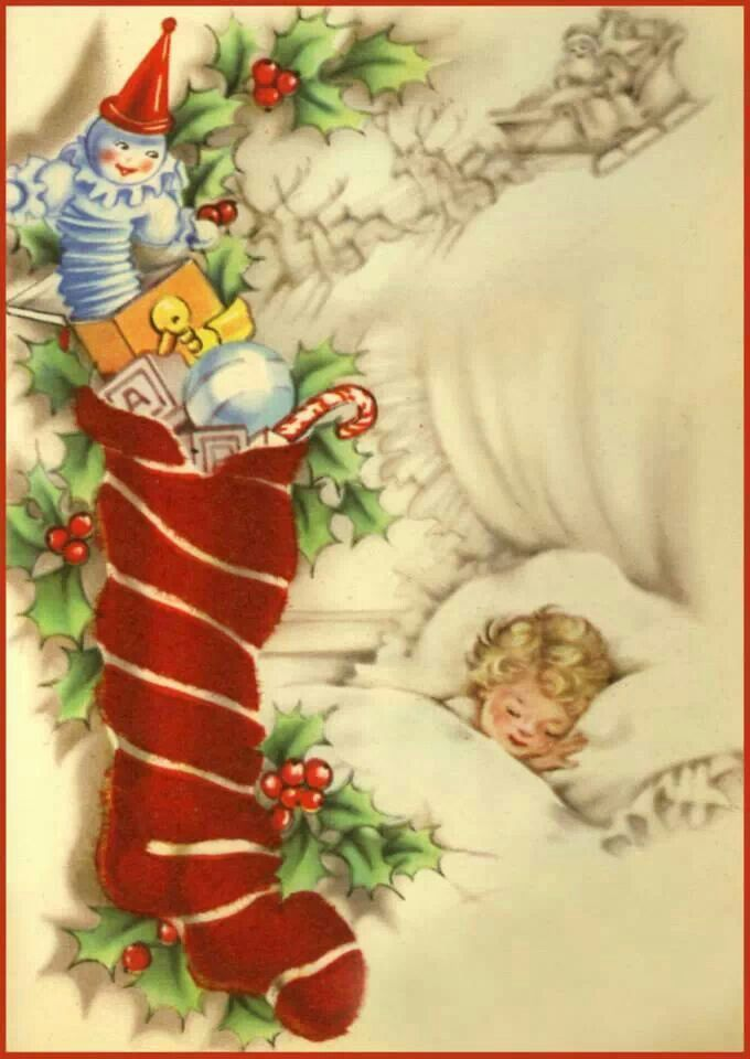Clip Art Of A Christmas Stocking Vintage Card