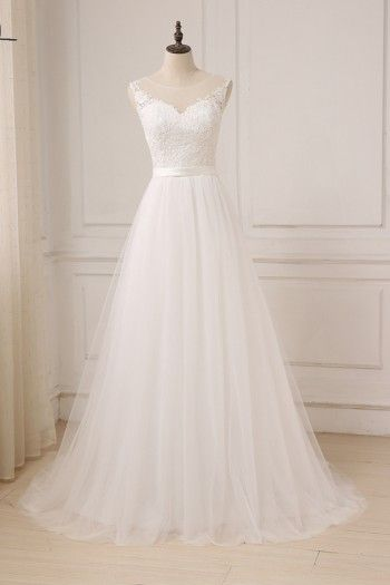 ee973ac1dad3 Cheap Lace Wedding Dress O-Neck Tulle Boho Beach Bridal Gown Bohemian  Wedding Gowns Robe De Mariage In Stock
