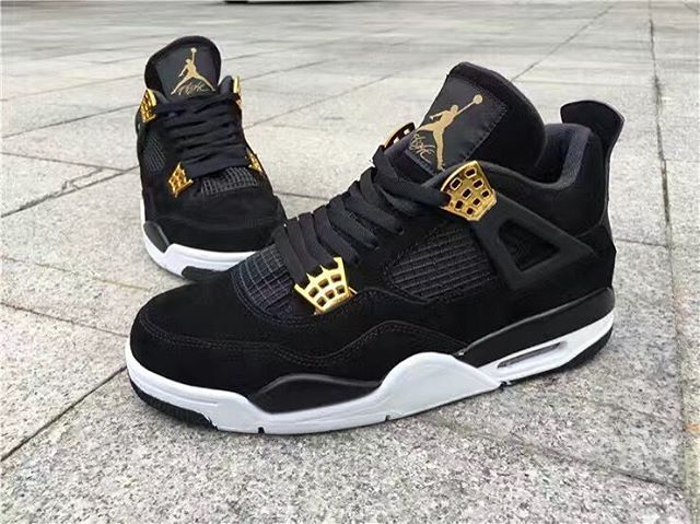 Air Jordan 4 Royalty Release Date. The Air Jordan 4 Retro Royalty dressed  in Black, Metallic Gold and White. The 2017 Royalty Air Jordan 4 release  date set