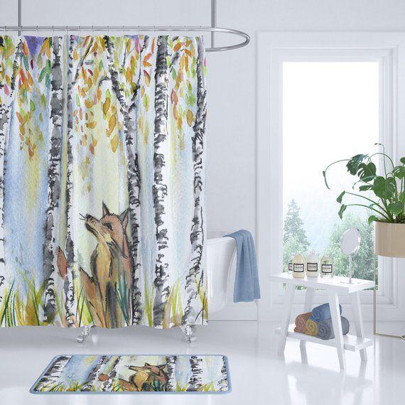 Woodland Fox Shower Curtain Woodland Home Watercolor Birch