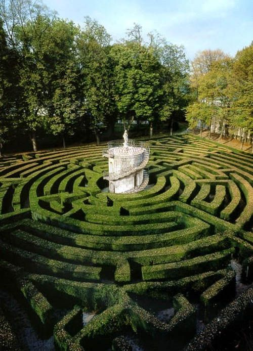 Villa Pisani garden maze ca. 1720s with turret and statue of Minerva, symbol of…