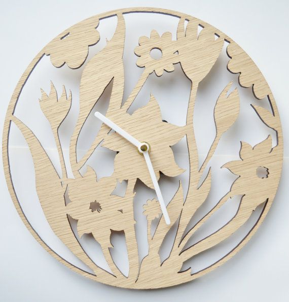 Floral Design clock Laser cut clock wooden by DomusDecorClocks