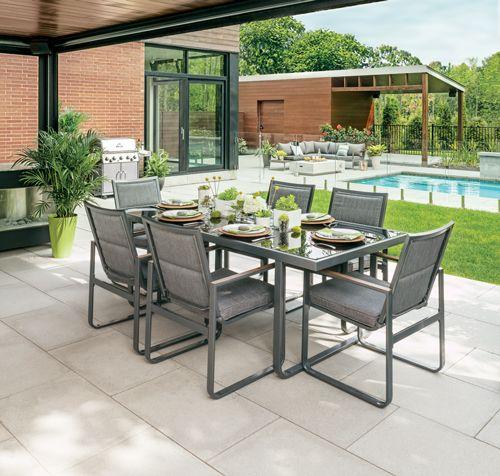 Up your #patio game with the Beverly Hills steel and textilene patio set, including 6 armchairs and cushions. | Habillez votre #terrasse avec le l'ensemble à dîner de la collection Beverly Hills qui inclut 6 chaises avec bras et coussins d'assise. Il est composé d'acier et de textilène.
