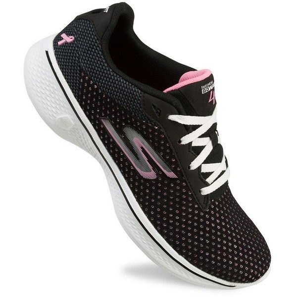 Skechers GOwalk 4 Empower LX Breast Cancer Awareness Women's Walking... ($68) ❤ liked on Polyvore featuring shoes, athletic shoes, green oth, synthetic shoes, print shoes, skechers footwear, athletic walking shoes and american shoes