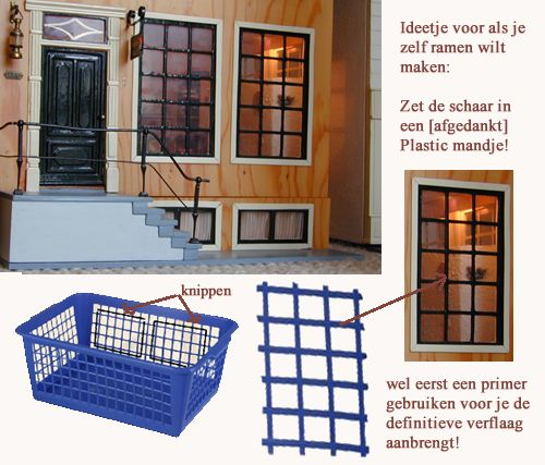 Windows from plastic baskets! Lots of other good ideas and patterns too if you browse around