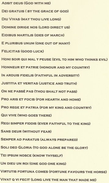 Latin phrases....now if I could pronounce them.
