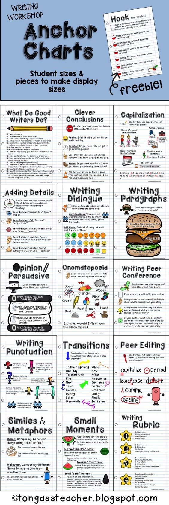 Anchor Charts for Elementary Grades on TpT! Each Anchor Chart file includes an individual student size (8.5x11) page and larger pieces to cut out and glue to large poster paper to create a super easy anchor chart you can reuse over and over! {Individual or get the bundle!}