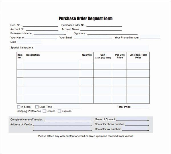 Purchase Requisition Form Template In 2020 Purchase Order